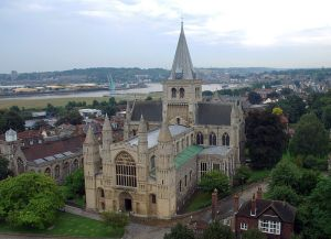 Rochester Cathedral as viewed from the castle tower.