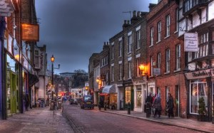A Victorian shopping street right out of Dicken Christmas Carol.